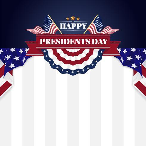 Glückliche Präsidenten Day Banner Background und Grußkarten. Vektor-Illustration