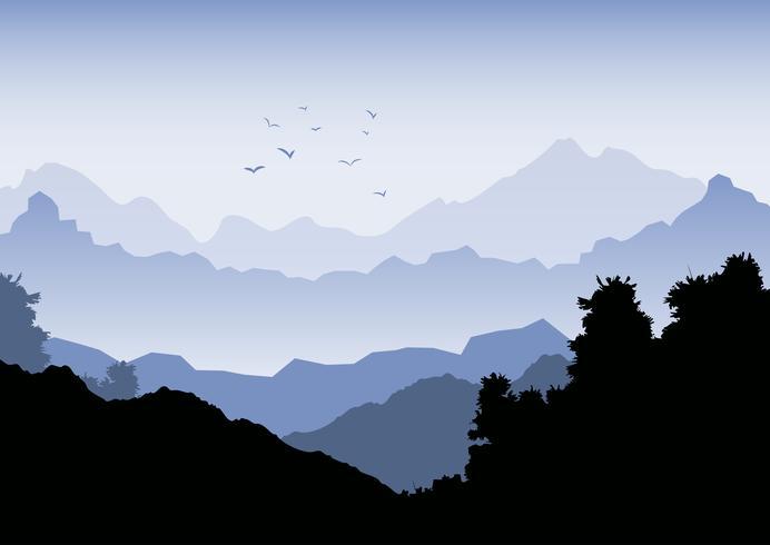 Paisagem de fundo com montanhas e bando de pássaros