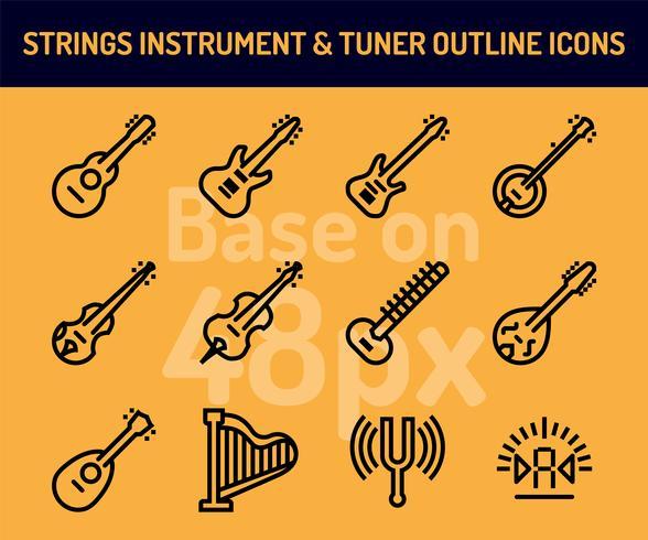 Conjunto de ícones de instrumento de cordas. Ícones de contorno baseiam-se em 48 pixels com pixel perfeito vetor
