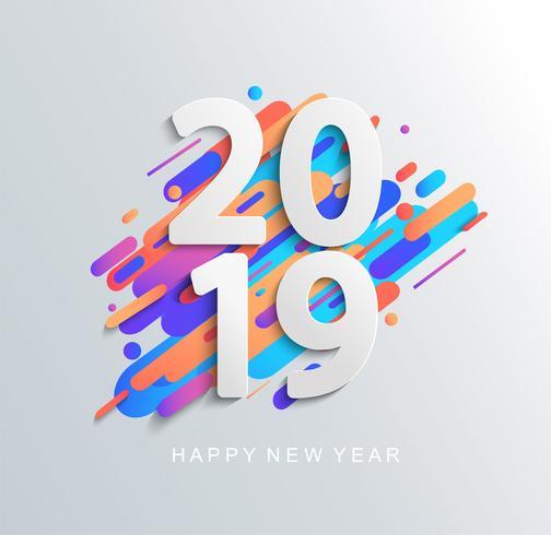 Scheda di disegno del nuovo anno 2019 su sfondo moderno.