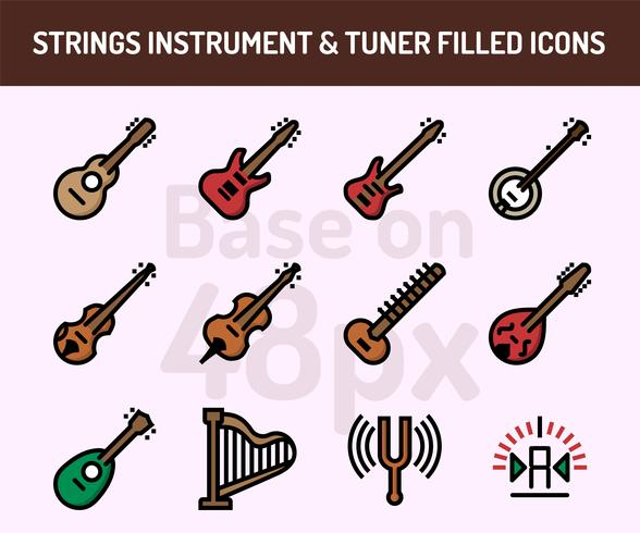String instrument icon set. Outline filled icons base on 48 pixel with pixel perfect vector