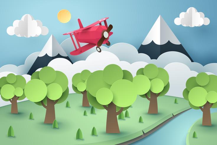 Document kunst van roze vliegtuig die boven bos en rivier, origami en reisconcept vliegen