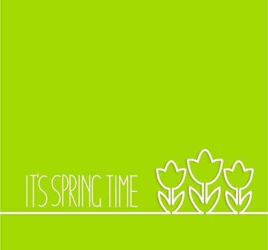Frühjahrkarte auf grünem Hintergrund.