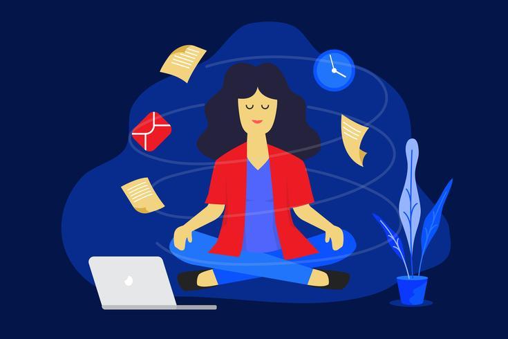 Mujer de meditación en el trabajo. Concepto de diseño de trabajo de negocios. Ilustración vectorial