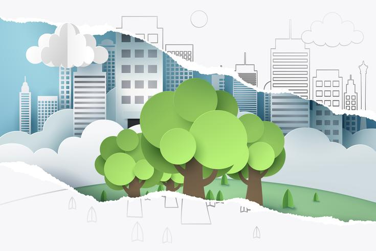 Strappato il disegno a mano 2D di albero e carta di città, vedere attraverso la carta 3D