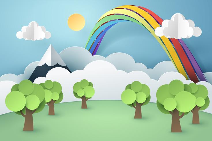 Paper art of forest and rainbow, idea per l'ambiente sostenibile per il mondo