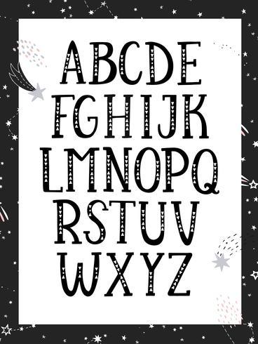 Black and white, monochrome alphabet.