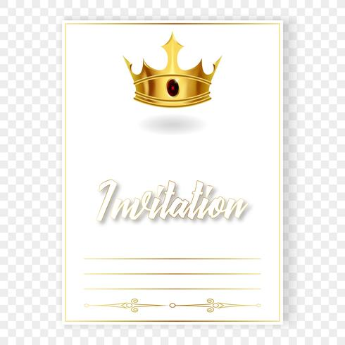 Card or invitation with a realistic crown vector