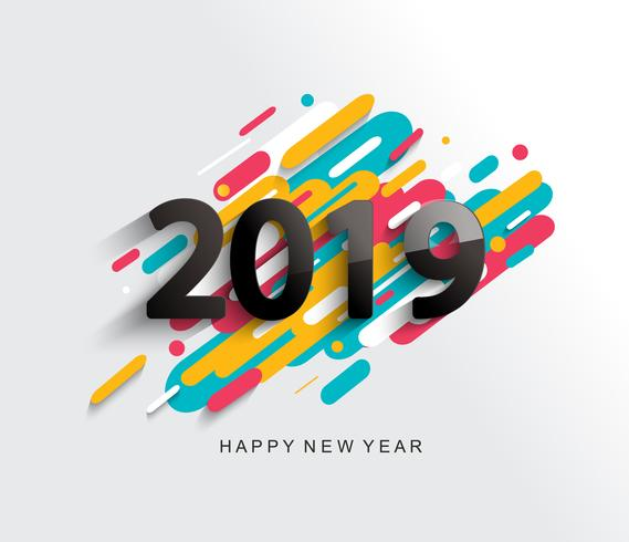 New Year 2019 card on modern background. vector