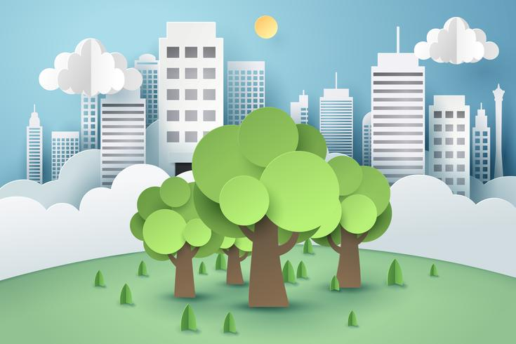 Tree surrounded by buildings, paper art concept
