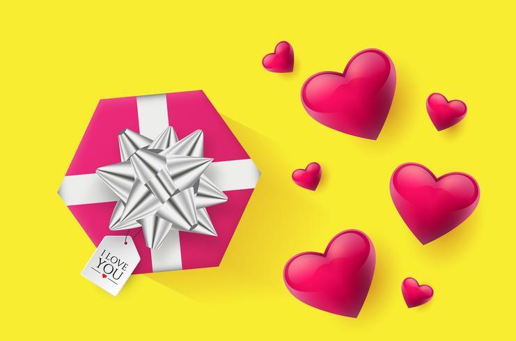 Papier peint de fête décoré de coeurs et de cadeaux. Illustration vectorielle