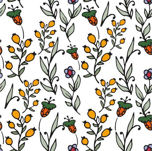 Patrón floral sin fisuras Estampado de hierbas y flores silvestres.