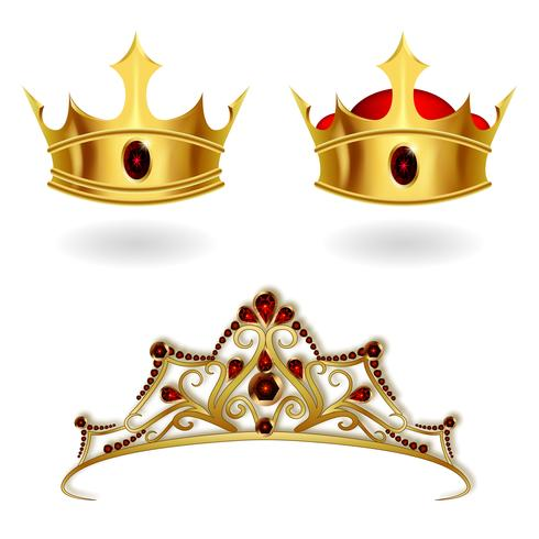 A set of realistic gold crowns and a tiara vector
