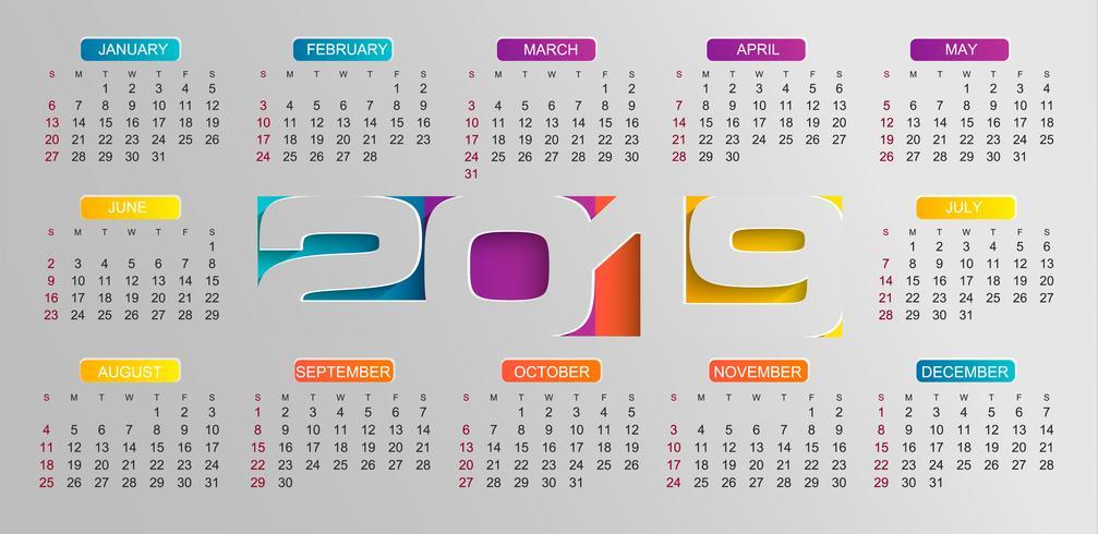 Calendário moderno para o ano de 2019. vetor