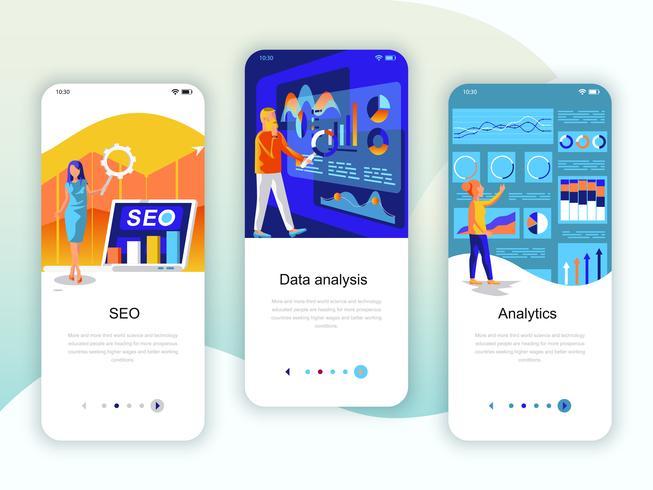 Set med inbyggda skärmar användargränssnitt för SEO, dataanalys, Analytics
