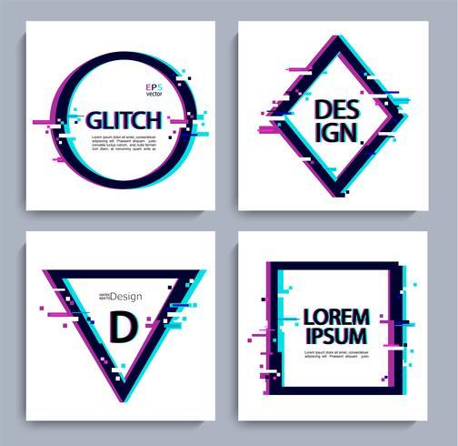 Set di forme geometriche, cornice con stile glitch.