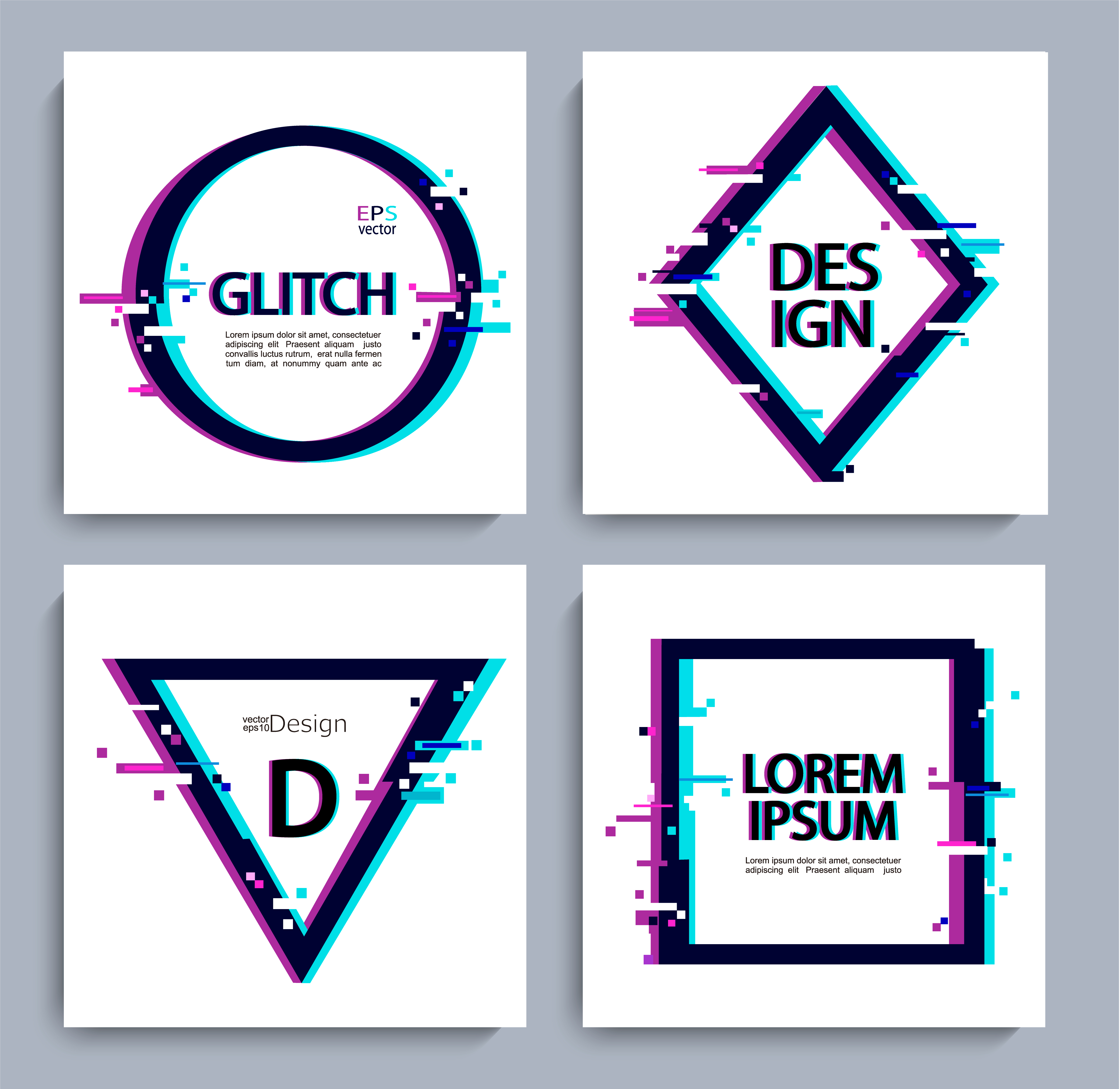 Corporate Logo With Geometric Shapes: Set Of Geometric Shapes , Frame With Glitch Style. 332563