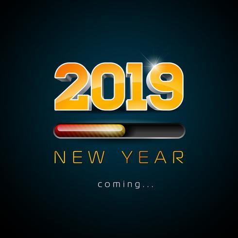 2019 Nyårsillustration vektor