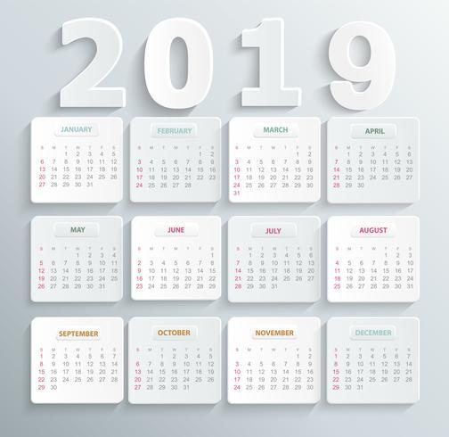 Enkel kalender för 2019 år. vektor