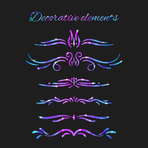 Vector fiorisce. Divisori Turbinii decorativi disegnati a mano con glitter. Decorazioni calligrafiche con scintillii. Struttura dello spazio. Effetto stelle brillanti.