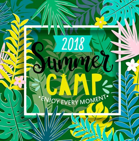 Summer camp 2018 in jungle. vector