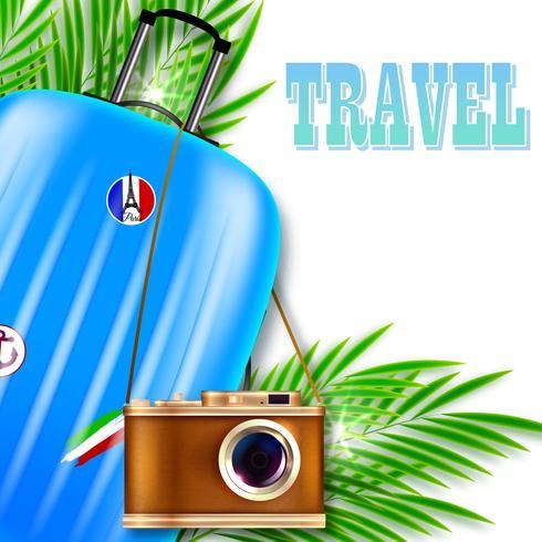 Illustrazione di viaggio Valigia con fotocamera retrò e foglie di palma