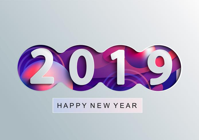 Tarjeta creativa feliz año nuevo 2019 en estilo de papel. vector