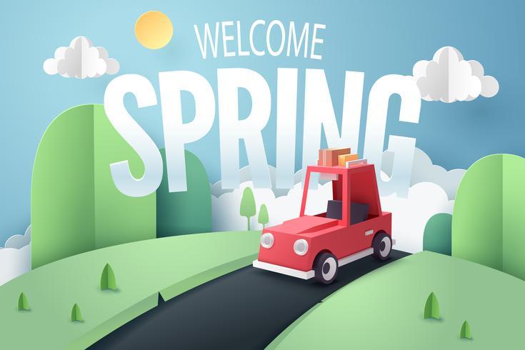 Arte de papel da floresta de carro vermelho e montanha com texto de boas vindas da Primavera