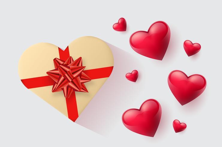 Feestelijk behang gedecoreerd met harten en geschenken