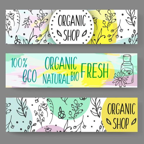 Banners with cosmetic bottles. Organic cosmetics illustration. vector