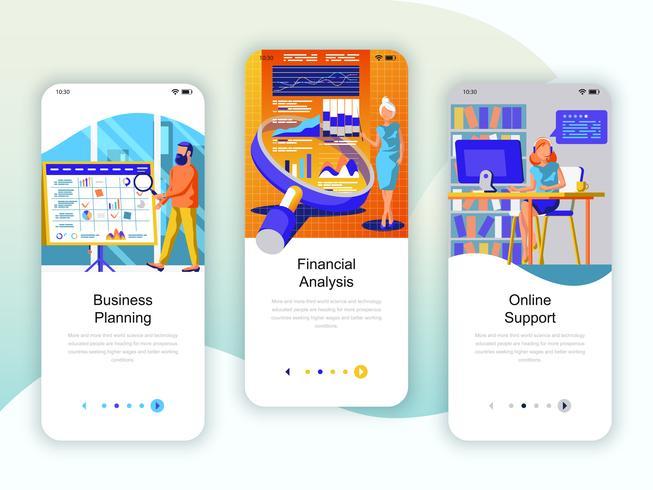Set av inbyggda skärmar användargränssnitt för planering, finansiell analys