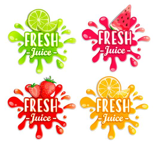Set di diversi schizzi di frutta.