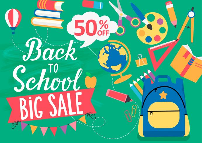 Banner Back To School big sale, 50 percent off. vector