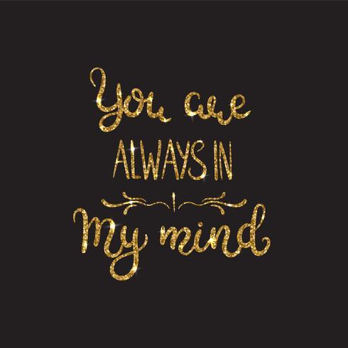 Kärlekstext. Romantisk bokstäver med glitter. Gyllene gnistrar