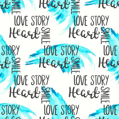 Romantic quote seamless pattern. Love text print for valentine day. Hand lettering typography design vector
