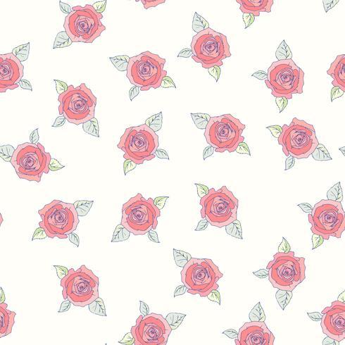 Padrão sem emenda de rosas desenhadas a mão vetor