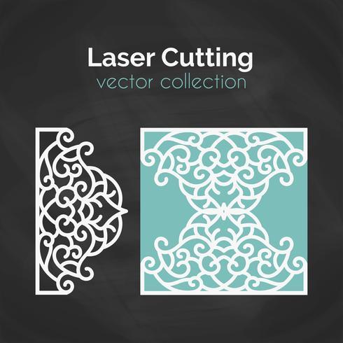 Carte découpée au laser. Modèle pour la coupe. Illustration de découpe.