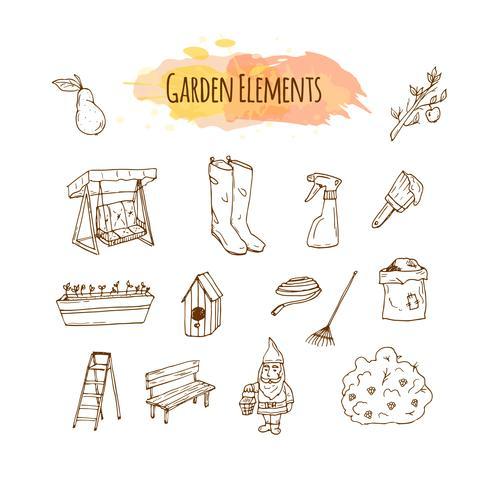 Illustration d'outils de jardin dessinés à la main. Art de croquis de jardinage de printemps