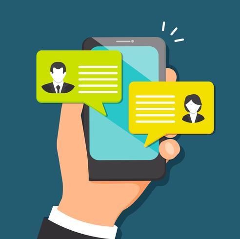 Concept de parler à travers le messager. vecteur