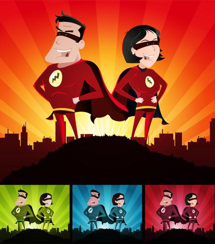 Cartoon Couple Of Super Heroes Set vector