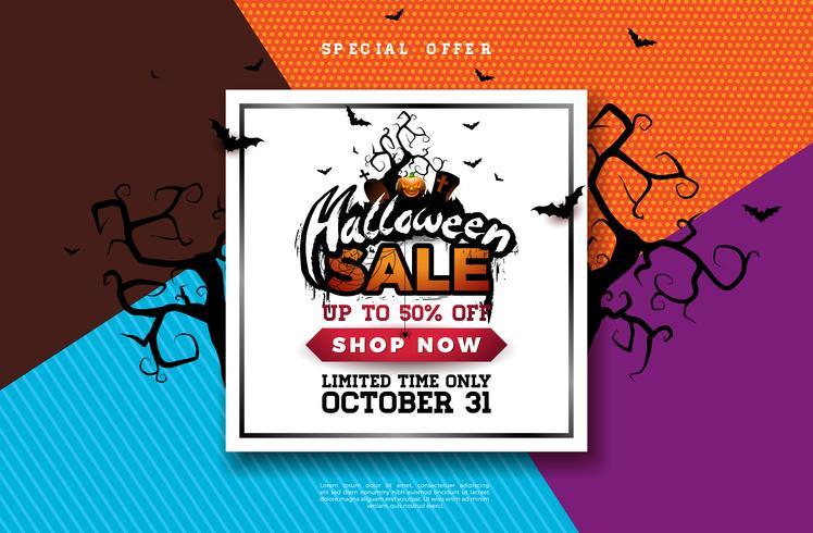 Ilustración de banner de venta de Halloween