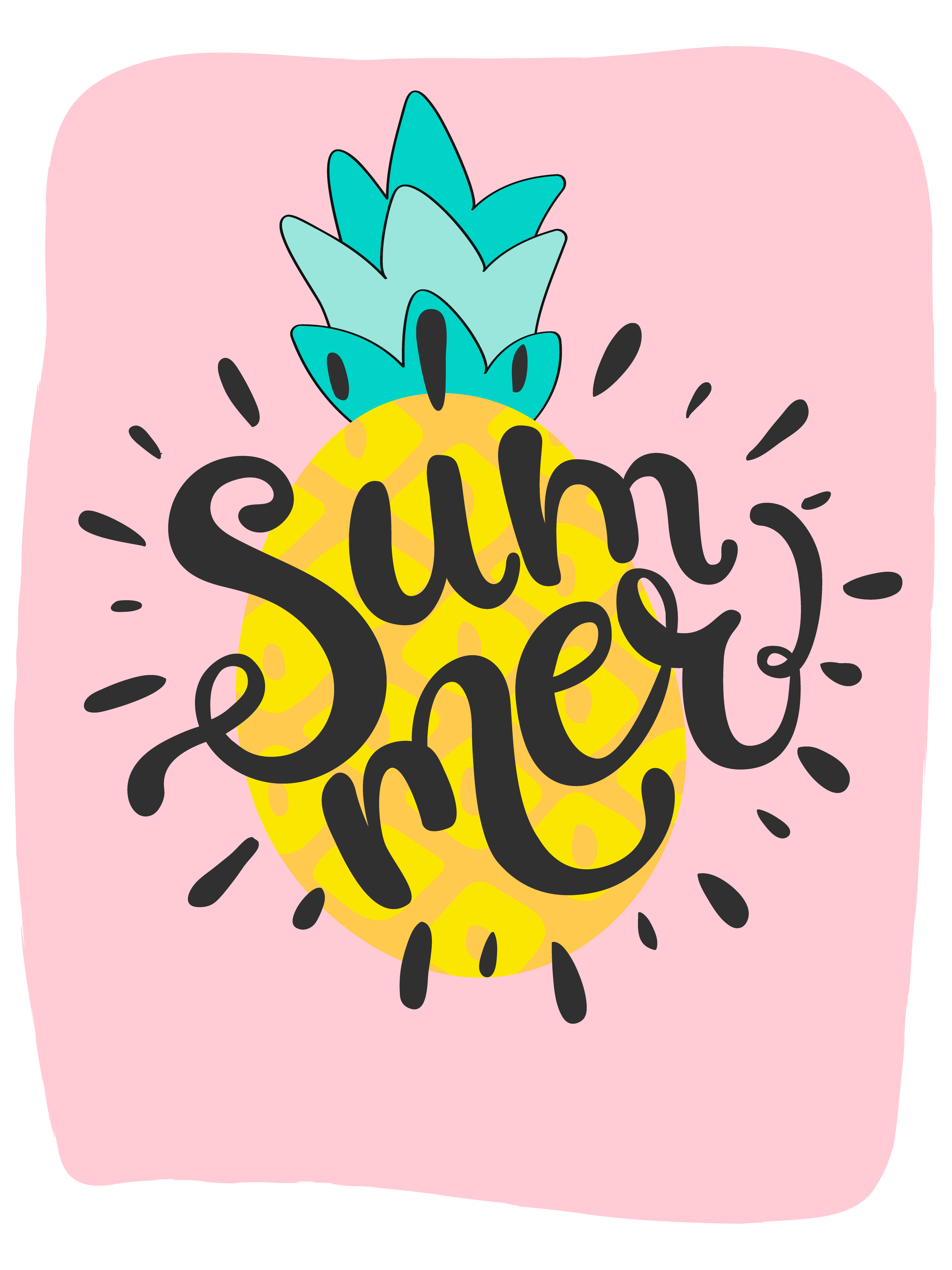 cute bright summer card with pineapple and handdrawn word