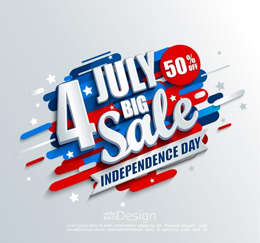Banner de grande venda para o dia da independência.