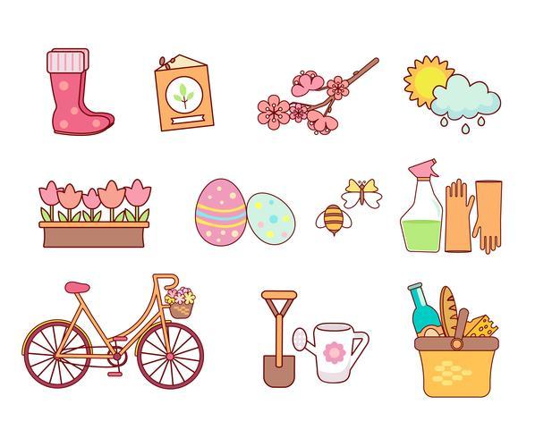 Conjunto de 11 iconos de colores planos de primavera