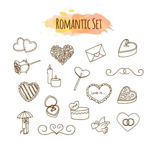 Ilustrações românticas. Conjunto de casamento de mão desenhada. Elementos de estilo Doodle para feliz dia dos namorados. vetor