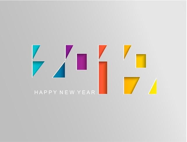 2019 Frohes neues Jahr-Karte im Papierstil.