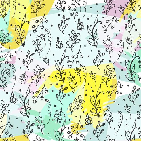 Blommigt sömlöst mönster. Urter och vilda blommor tryck.