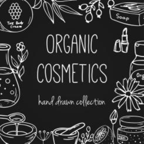 Flacons cosmétiques de vecteur. Illustration de cosmétiques bio. Doodle articles de soins de la peau. Ensemble dessiné à la main à base de plantes. Éléments de spa dans le style fragmentaire. vecteur