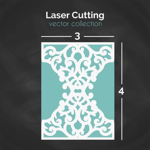 Laser Cut Card. Modello per il taglio. Illustrazione di ritaglio.