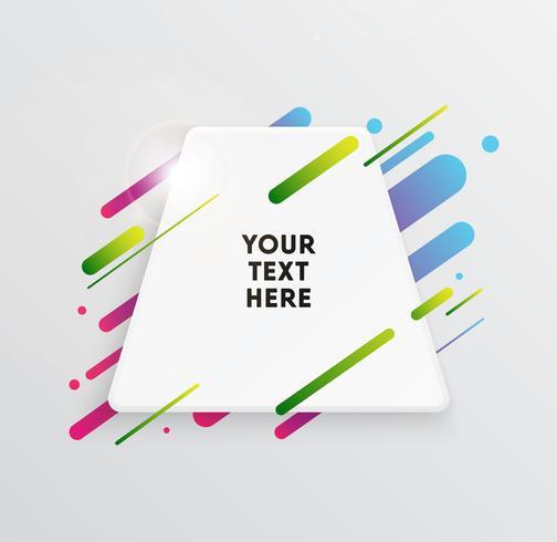 De fundo Vector com cartão de papel e formas coloridas abstratas. Linhas de néon na moda e círculos papel de parede em um estilo de design moderno material.